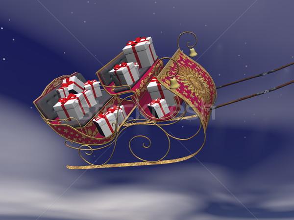 Christmas Święty mikołaj sanie pełny prezenty 3d Zdjęcia stock © Elenarts