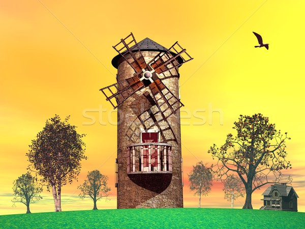 Old wind mill Stock photo © Elenarts