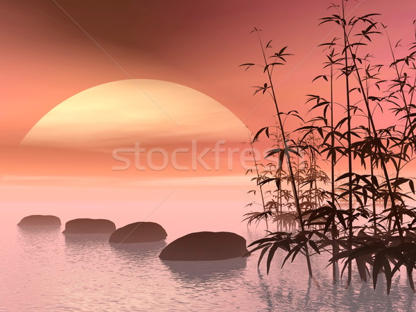 Asian steps to the sun - 3D render Stock photo © Elenarts