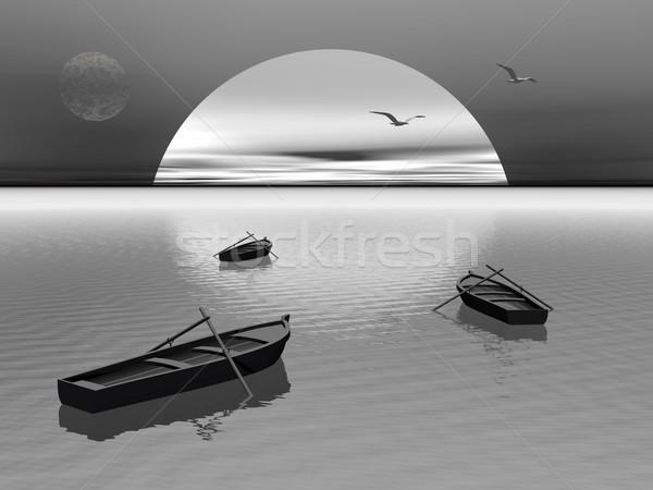 Stock fotó: Régi · fa · csónak · éjszaka · 3d · render · hajók · kettő