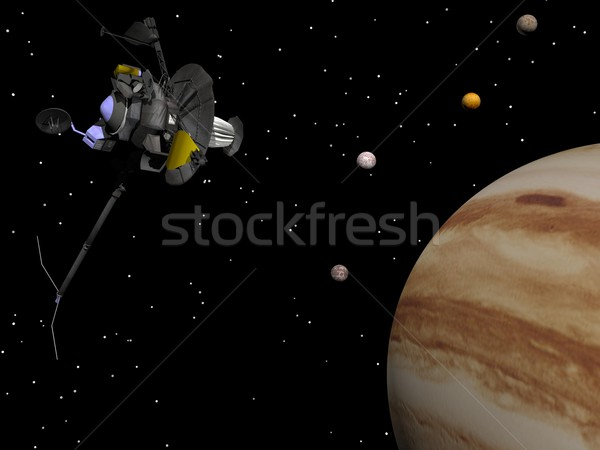 Voyager spacecraft near Jupiter and its satellites - 3D render Stock photo © Elenarts