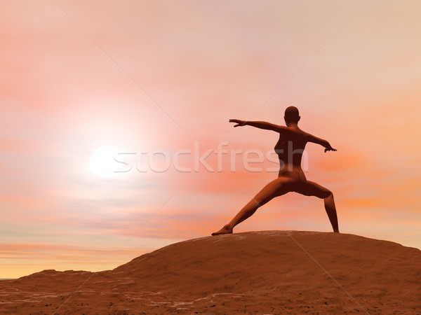 Warrior pose, virabhadrasana 2 - 3D render Stock photo © Elenarts