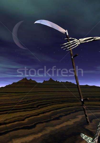 Dood 3d render skelet hand lopen nacht Stockfoto © Elenarts