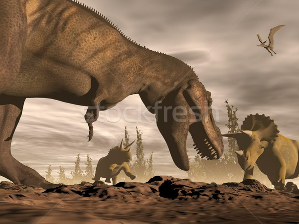 Tyrannosaurus roaring at triceratops - 3D render Stock photo © Elenarts