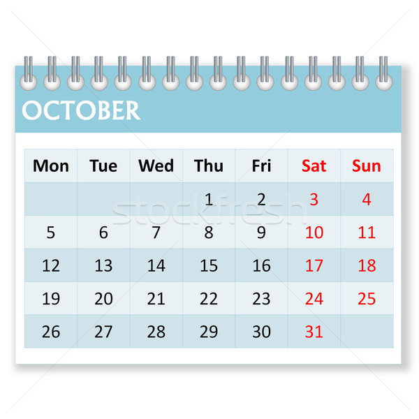 Calendar sheet for october Stock photo © Elenarts
