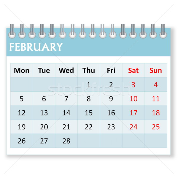 Calendar sheet for february Stock photo © Elenarts