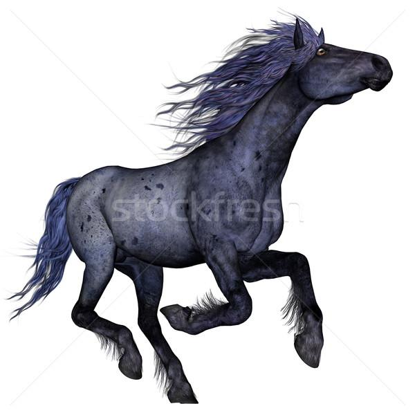 Negro azul caballo ejecutando 3d aislado Foto stock © Elenarts