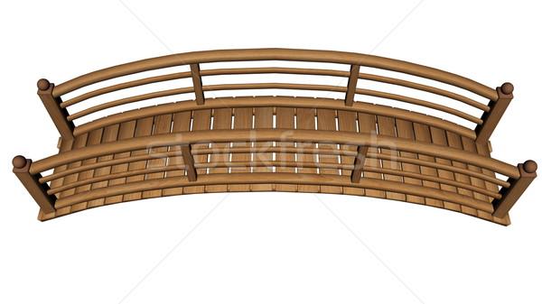 саду моста 3d визуализации древесины изолированный белый Сток-фото © Elenarts