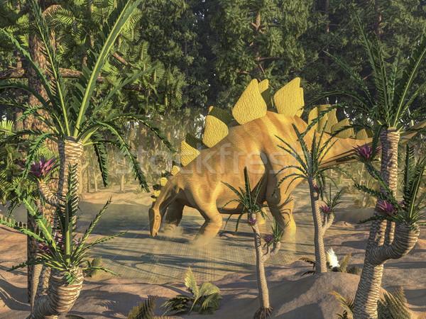 恐竜 3dのレンダリング 1 飲料水 池 木 ストックフォト © Elenarts