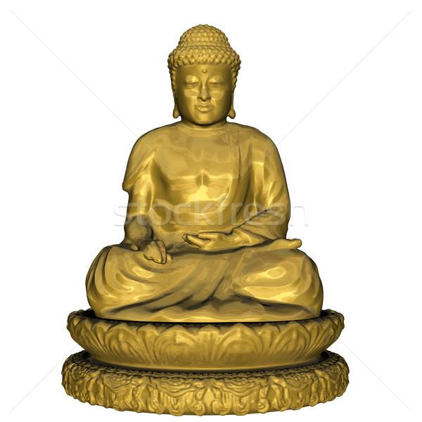仏 3dのレンダリング 瞑想 孤立した 白 ストックフォト © Elenarts