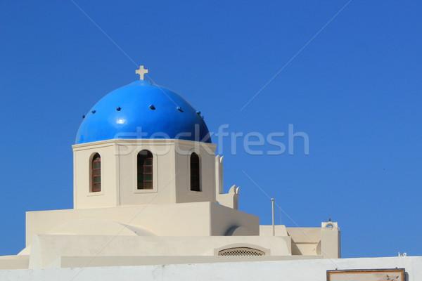 Blu cupola chiesa santorini Grecia Foto d'archivio © Elenarts