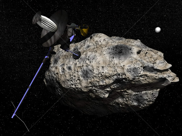 Galileo spacecraft discovering Dactyl orbiting the asteroid Ida  Stock photo © Elenarts