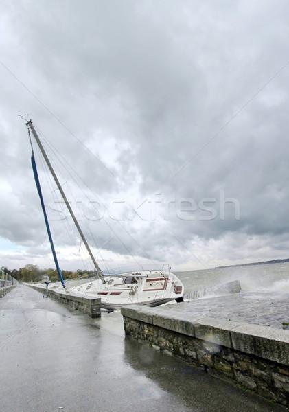 Tempestade Suíça barco grande nublado Foto stock © Elenarts