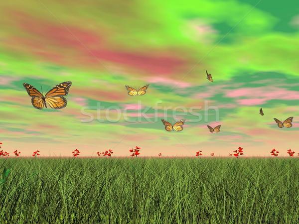 Monarch butterflies in nature - 3D render Stock photo © Elenarts
