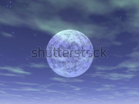 Telihold 3d render gyönyörű felhős kék ég égbolt Stock fotó © Elenarts
