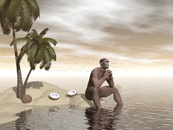 Homo erectus thinking alone - 3D render Stock photo © Elenarts