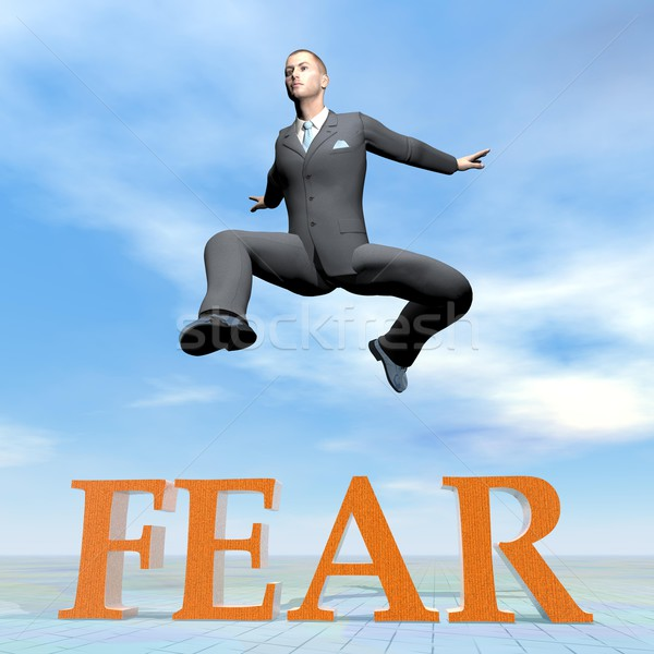 Businessman jumping upon fear word - 3D render Stock photo © Elenarts