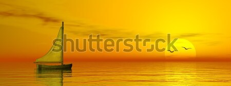 Foto stock: Pequeño · vela · barco · océano · 3d · puesta · de · sol