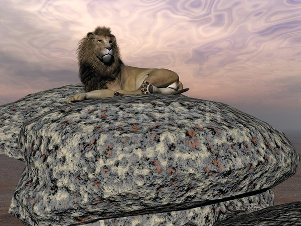 Foto stock: Leão · 3d · render · belo · grande · pedra