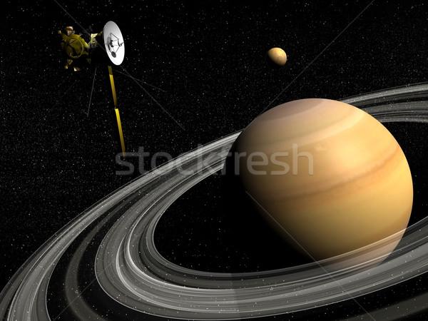 Cassini spacecraft near Saturn and titan satellite - 3D render Stock photo © Elenarts
