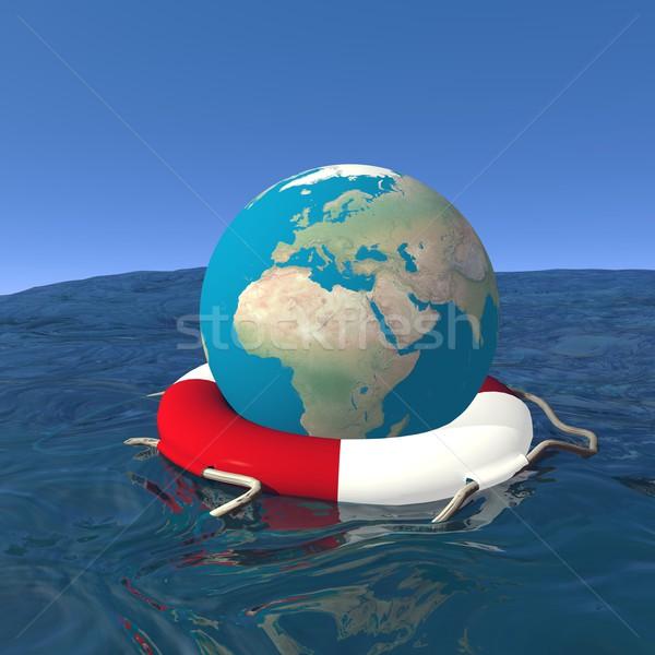 Saved earth - 3D render Stock photo © Elenarts