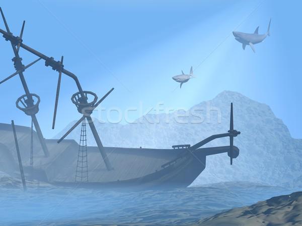 Gemi enkazı sualtı 3d render eski iki köpekbalıkları Stok fotoğraf © Elenarts