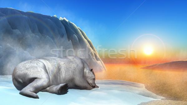 Orso polare rendering 3d dormire iceberg tramonto mare Foto d'archivio © Elenarts