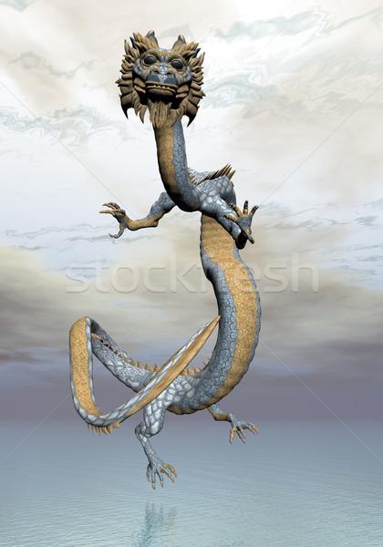 восточных дракон 3d визуализации небе воды облака Сток-фото © Elenarts