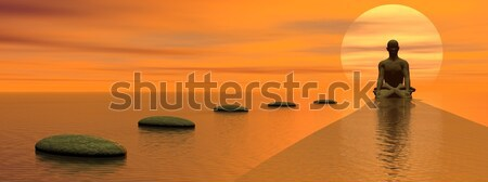 Meditation at sunset Stock photo © Elenarts