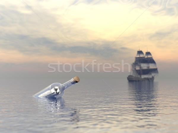Ayudar botella barco mensaje edad Foto stock © Elenarts