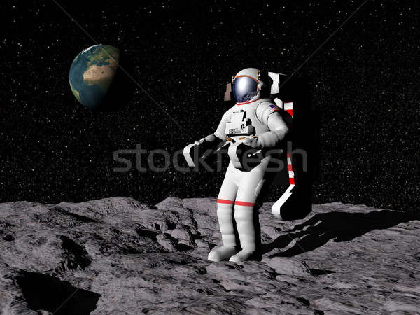 Man on the moon - 3D render Stock photo © Elenarts