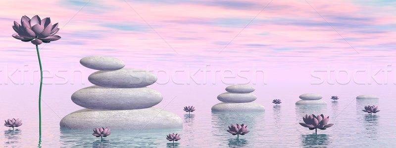 Zen liliom virágok 3d render rózsaszín levelek Stock fotó © Elenarts