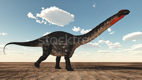 Dinosaurus 3d render permanente woestijn hemel natuur Stockfoto © Elenarts