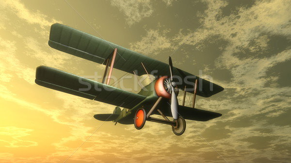 Kétfedelű repülőgép naplemente 3d render repülés égbolt kék Stock fotó © Elenarts