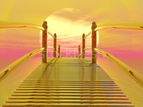 Golden bridge to sun - 3D render Stock photo © Elenarts
