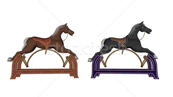 Rocking toy horses - 3D render Stock photo © Elenarts