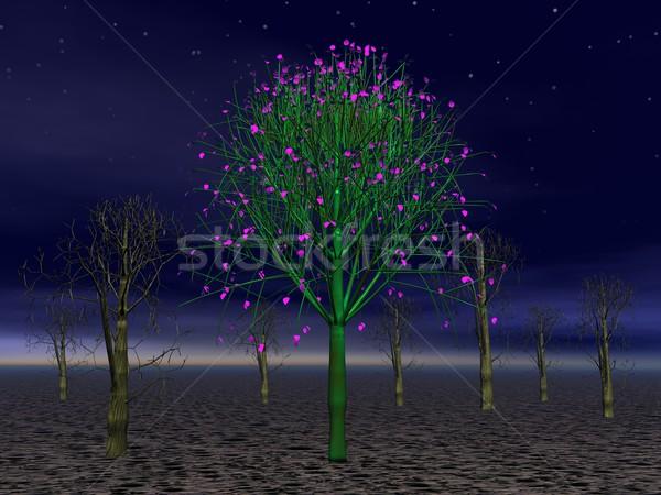 Vreemd boom mooie groene roze bos Stockfoto © Elenarts