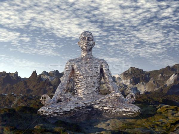 Meditáció 3d render férfi meditál hegy reggel Stock fotó © Elenarts