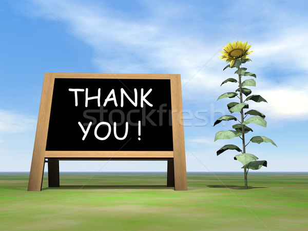 Sunflower blackboard saying thank you - 3D render Stock photo © Elenarts
