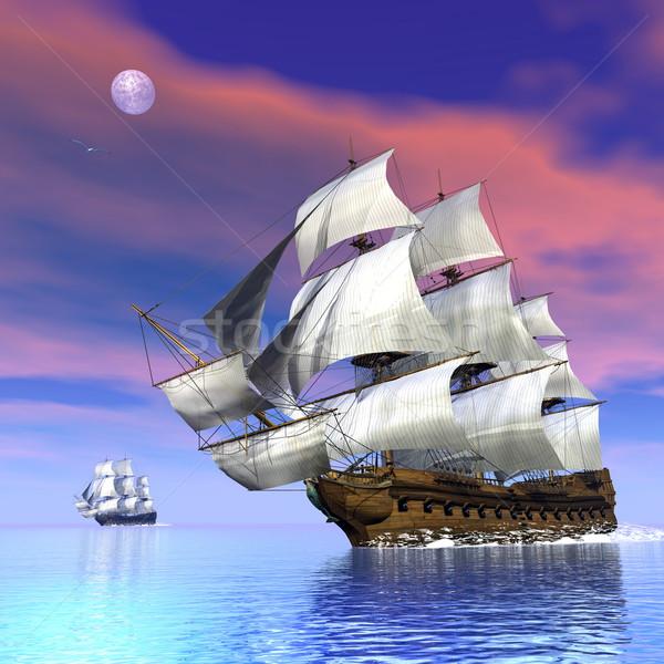 Old merchant ships - 3D render Stock photo © Elenarts