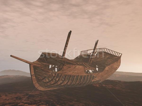 Stockfoto: Wrak · oude · boot · zand · 3d · render · bewolkt