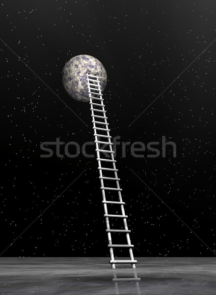 Ladder to the moon - 3D render Stock photo © Elenarts