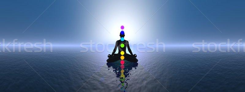 Azul pôr do sol 3d render silhueta homem meditando Foto stock © Elenarts
