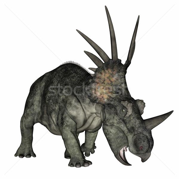 Styracosaurus dinosaur standing - 3D render Stock photo © Elenarts