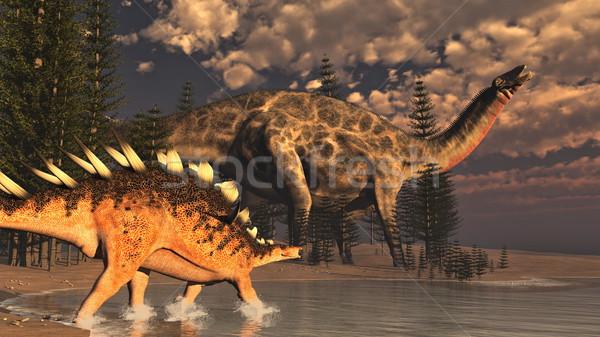 Dicraeosaurus and kentrosaurus dinosaurs - 3D render Stock photo © Elenarts
