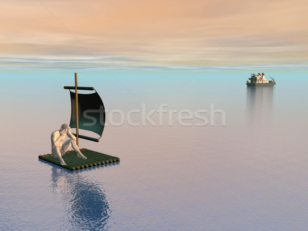 Nem segítség 3d render reménytelen férfi tutaj Stock fotó © Elenarts