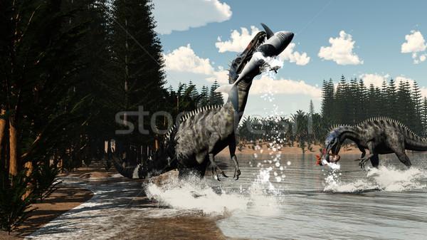 Suchomimus dinosaurs fishing fish and shark - 3D render Stock photo © Elenarts