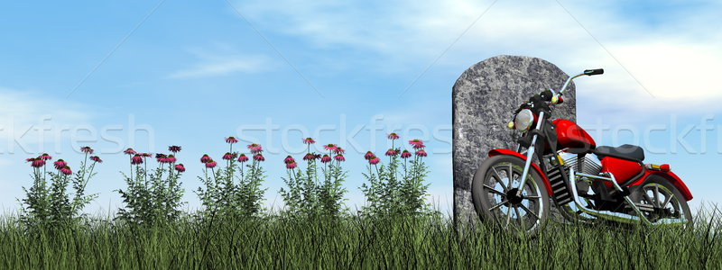 Motorcyclist tombstone - 3D render Stock photo © Elenarts