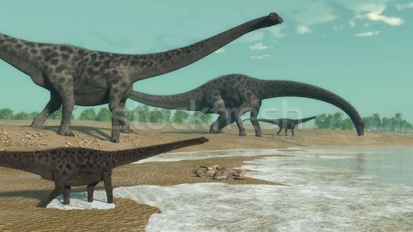 Dinossauros rebanho 3d render olhando água deserto Foto stock © Elenarts