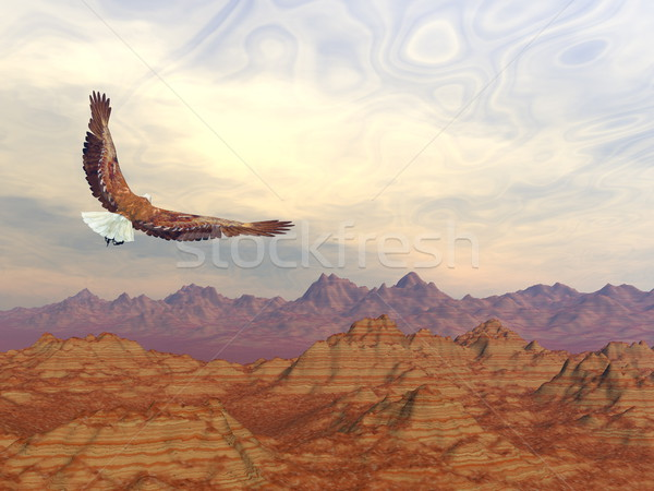 Bald eagle flying upon rocky mountains - 3D render Stock photo © Elenarts